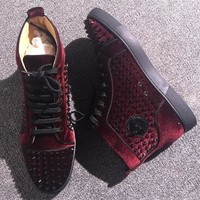 Christian Louboutin CL Louis Spikes Style #1882 Sneakers Fashion Shoes Online