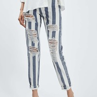 MOTO Stripe Rip Mom Jeans - Jeans - Clothing