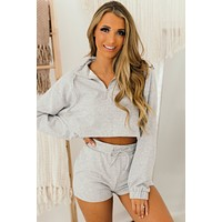Weekend Hours French Terry Two Piece Set (Heather Grey)