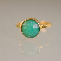 Chrysoprase Stacking Ring - Gemstone Ring  - Bezel Ring - Stackable Ring -