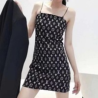 LV Louis Vuitton x Dior Slim-fit sexy one-neck floral dress with clavicle exposed waist and slim suspender skirt