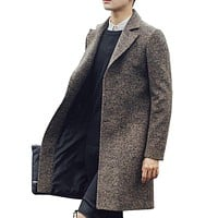 New Men Long Trench Coat Men Fashion Wool Trench Coat Windbreaker Steampunk Men Overcoat Casual Outerwear Coats C75NF21