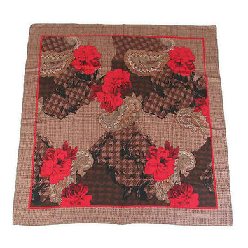 Christian Dior Scarf, Silk Scarf, Houndstooth, Paisley, Red Rose, Floral Flowers, Vintage Accessories, Vintage Scarf, Vintage Dior