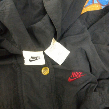 Vintage Nike Bomber Jacket Pullover Hip Hop Buttons Down Harrington Army Swag Hoodie Jacket