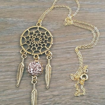 Gold tone dreamcatcher rose gold druzy necklace