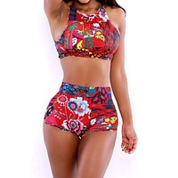 Vintage Patterned High-Waist Bikini Set Swimwear Swimsuit Women