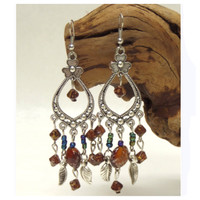 Antique Boheminan Flower Bead Drop Earrings