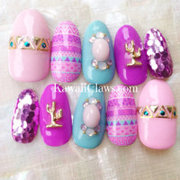 Kawaii cowgirl southwest style false fake 3d press on nails with cactus
