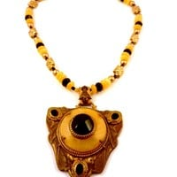 Chunky Yellow and Black Necklace with Repurposed Vintage Brass Pendant Honey Jade Gemstones and Black Crystals