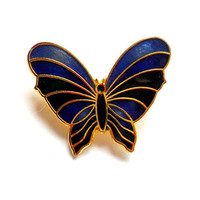 Vintage Cloisonne Butterfly Brooch - Blue Green Stripe - Gold Tone Metal - Stylized Insect Bug - Spring Summer - Broach Pin - Gifts For Her