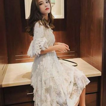 New Style White Lace With Hollow Out Flower and A-Line Bell Sleeve Summer Woman Dress