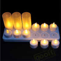 Yellow Flicker Led Candles Rechargeable Tea lights Candle Lamp  Battery Operated