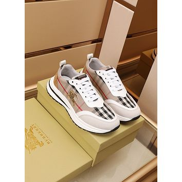BURBDRR Men Fashion Boots fashionable Casual leather Breathable Sneakers Running Shoes0511qh