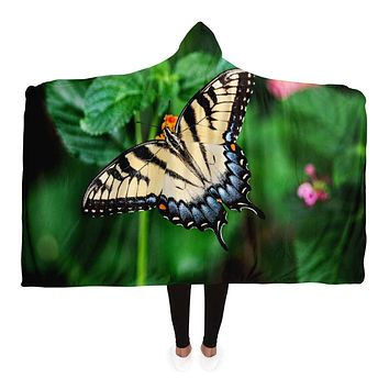 Hooded Blankets, Vibrant Butterfly Style Green Fleece Blanket