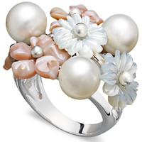 Pearl Ring, Sterling Silver Mother of Pearl and Cultured Freshwater Pearl Flower Ring
