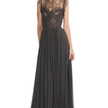 Charcoal Lace and Grosgrain Long Dress by Elie Saab for Preorder on Moda Operandi