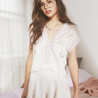 UO Love Story Embroidered Short   Urban Outfitters