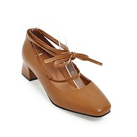 Lace-up Square Head Women's Chunkey Heeleded Pumps