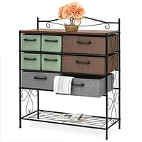 8-Drawer Wood/Metal Storage Dresser Entryway Cabinet Chest with Fabric Drawer