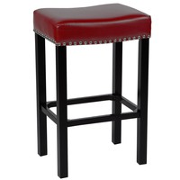 """Tudor 30"""" Stool Red Bonded Leather with Chrome Nails"""
