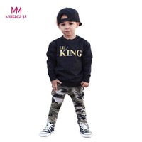 Child Boys Clothes Set Long Sleeve Letter Print T-shirt Tops+Camouflage Pants Outfits Clothes Set For 1-5 Years Olds Kids Boys