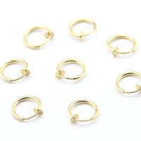 316L Surgical Stainless Steel 8 Gold Color Clip On Fake Body Piercing Ear Nose Lip Ring Earrings 13mm (1/2 inch) Gothic Punk Jewelry
