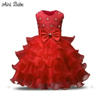 Aini Babe Girl Dress Princess Christmas Lace Kids Christening Events Party Wear Dresses For Girls Children Baby Red Clothes