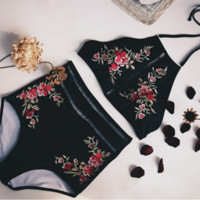 Sexy black flower embroidery high neck halter two piece bikini
