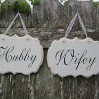 "Hand Painted Wooden White Shabby Chic Decoration Wedding Signs, ""Hubby"" / ""Wifey"" Two Wooden Decorative Signs."