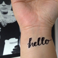 Temporary Handwritten Hello Tattoo