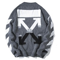 Off White New fashion arrow print couple long sleeve top sweater Gray
