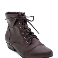 Indy 11 Ankle Cuff Lace Up Pu Short Boot
