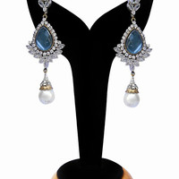 Exclusive Earrings for Women in Turquoise and White Stones