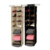 3 Shelf / 8 Pocket Closet Organizer (Black / Cream) - College Dorm Closet Organizers