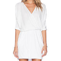 Bobi Modal Jersey Wrap Dress in White