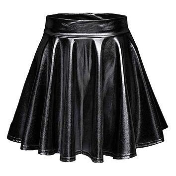 Women Girls Pure Color Pleated Skirts Short High Waist Skater Dresses Tennis School Mini Skirt Elegant Bright Skirt Small A-black