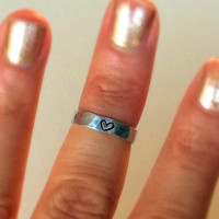 Heart Above the Knuckle or Pinkie Ring / Stackable Ring / Adjustable Ring /  Name Ring / Word Ring