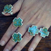 Marble Cross /// Turquoise Cross Electroformed Gemstone Ring /// Silver