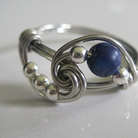 Lapis Lazuli Gemstone Ring Inspired by Vampire Diaries Completely Sterling Silver ALL SIZES