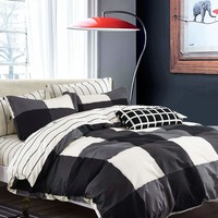Black & White Plaid & Striped Duvet Cover 1PC