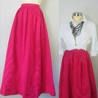 1980s Magenta Moire Maxi Skirt // Long Formal Holiday Fashion // 25 Inch Waist