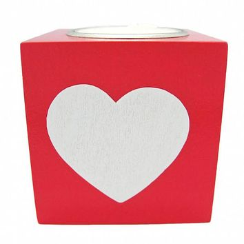 Scandinavian Square Heart Candle Votive Red
