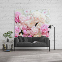 summer peonies Wall Tapestry by sylviacookphotography