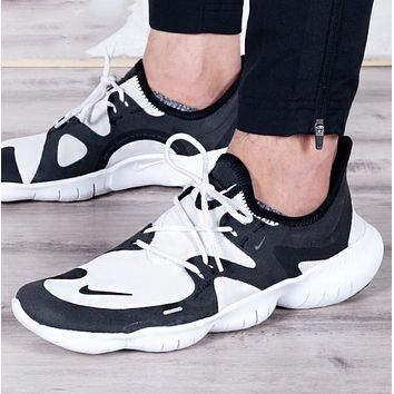 Bunchsun NIKE Free Rn 5.0 Fashion New Hook Print Contrast Color Sports Leisure Shoes