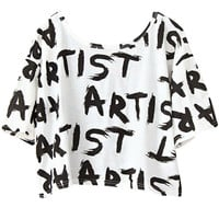 Artist Print Short Sleeve Cropped Graphic Tee