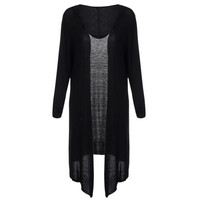 Trendy Hooded Solid Color Long Sleeve Women's Cardigan