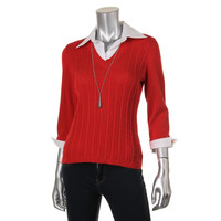 NY Collection Womens Cable Knit 3/4 Sleeves Pullover Top