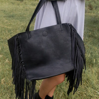 Boho Basics Faux Leather Black Oversized Side Fringe Tote