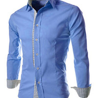 Checked Print Button Designed Long Sleeves Shirt