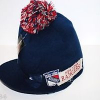 OT SPORTS POM VISOR KNIT NHL HOCKEY WINTER HAT/BEANIE/TOQUE - NEW YORK RANGERS